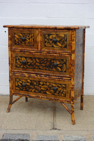 Bamboo Chest of Drawers with Decoupage Shells