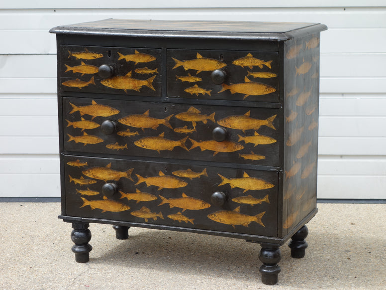 Antique Pine Dresser with Decoupage Fish Design - Hamptons Furniture, Gifts, Modern & Traditional