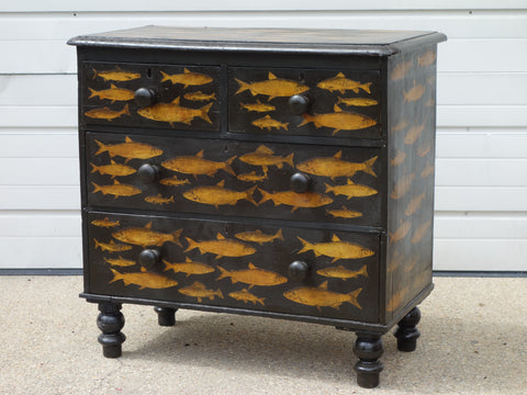 antique dresser in black with applied decoupage fish