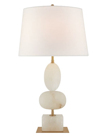 Dani Medium Table Lamp in Alabaster and Black Marble with Linen Shades