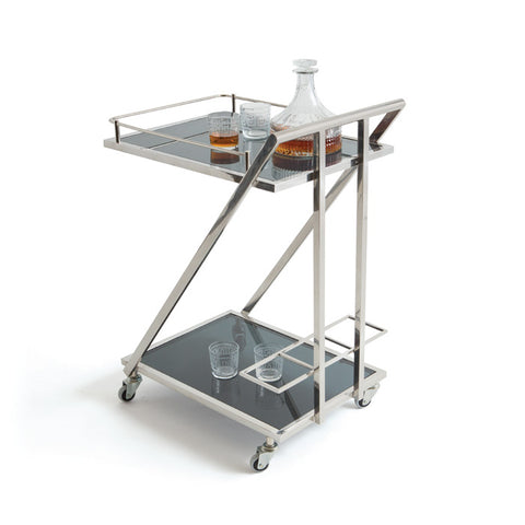 Stainless Steel and Black Glass Bar Cart