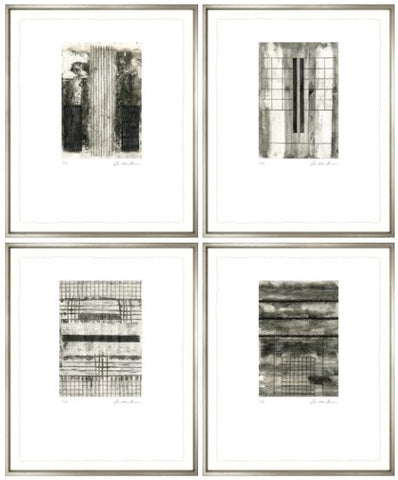 Linear Etchings with Contemporary Silver Frame