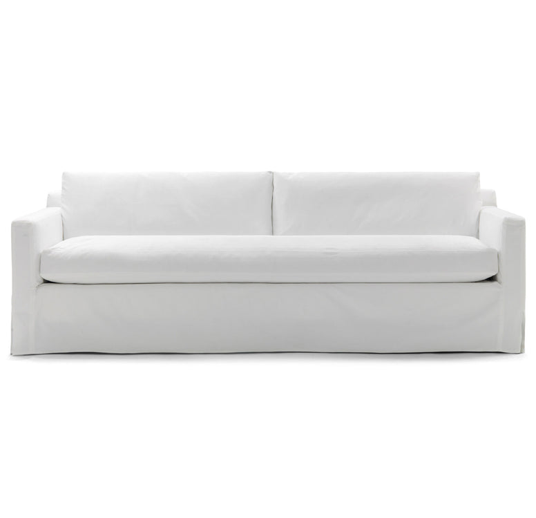 Modern Slipcovered Bench Seat Sofa