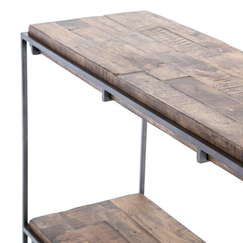 Iron Framed Modern Console with Rustic Hardwood Top and Base