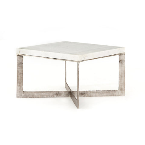 Thick Marble Topped Coffee Table with Aluminum Base