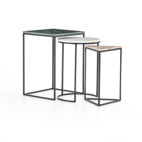 Trio of Nesting Marble End Tables in Variety of Shapes and Colors