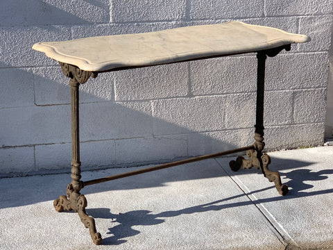 Antique Bistro Table, French 19th Century, with cast iron base and marble top