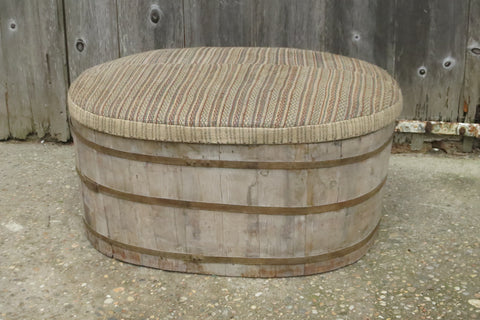 Unusual Old Barrell with Upholstered Top