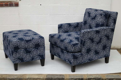 Indigo patterned armnchair by Miles Talbot