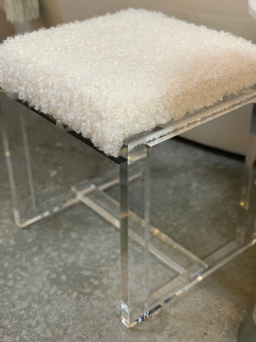 Plexiglass Stool, with faux sherpa seat