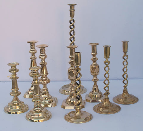 Antique Brass Candlesticks - Hamptons Furniture, Gifts, Modern & Traditional