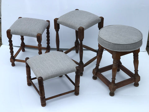 English Stools with Upholstered Seats