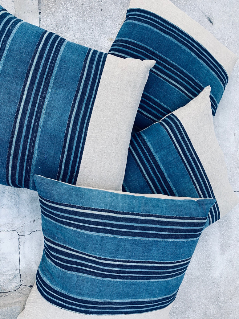 Large Blue and Indigo & natural throw pillows in vintage fabric