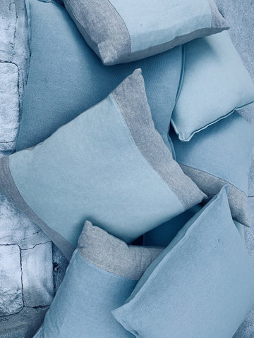 Aqua and grey linen throw pillows