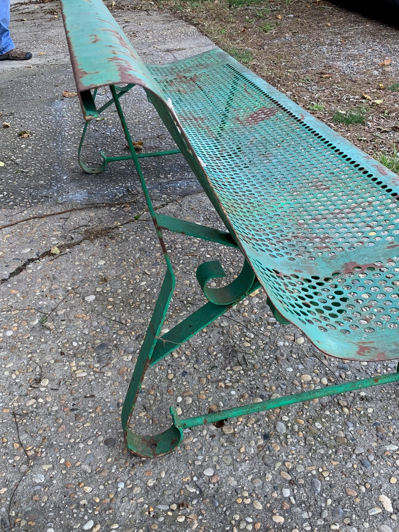 Green Garden Bench from Paris c 1940 - Hamptons Furniture, Gifts, Modern & Traditional