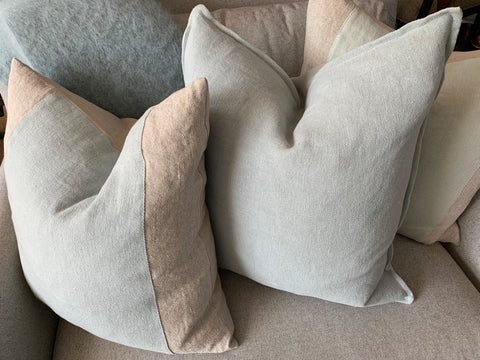 Aqua and grey linen throw pillows - Hamptons Furniture, Gifts, Modern & Traditional