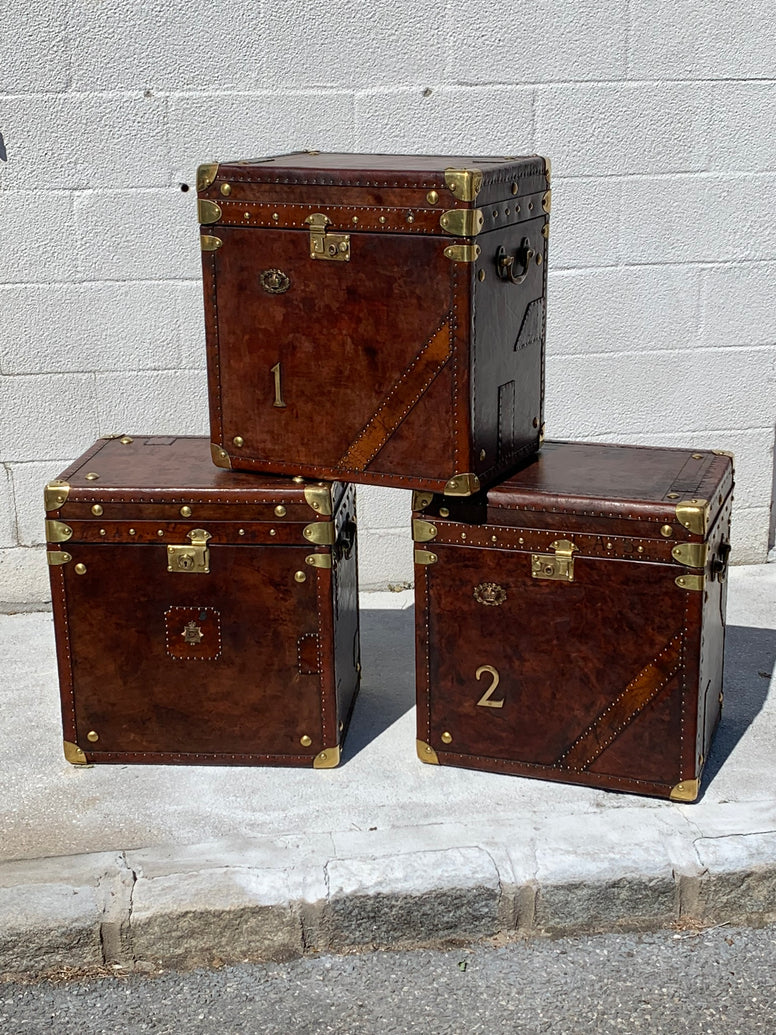Vintage Leather Trunks, Refurbished - Hamptons Furniture, Gifts, Modern & Traditional