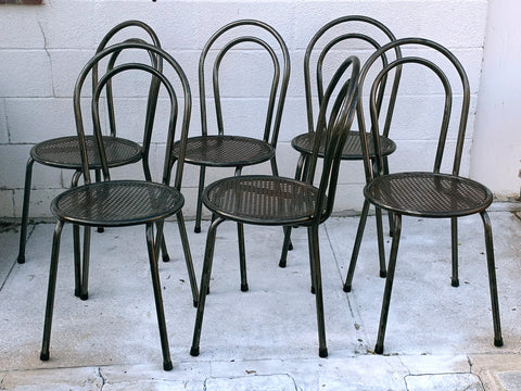 English Metal Bistro Chairs c 1950 - Hamptons Furniture, Gifts, Modern & Traditional