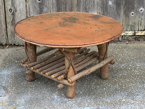 Adirondack Style Coffee Table with Copper Top