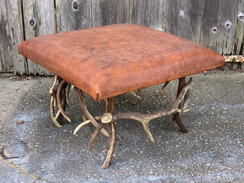 Ottoman with Horn Legs and Leather Top - Hamptons Furniture, Gifts, Modern & Traditional