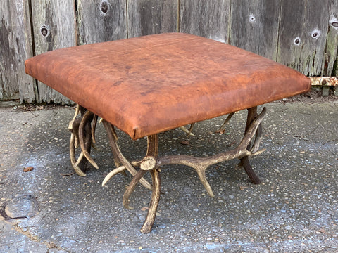 Ottoman with Horn Legs and Leather Top