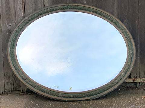 Very Large Vintage Oval Mirror in Brass