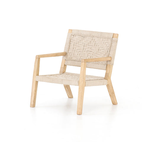 wood chair with woven rope seat and back. Macrame