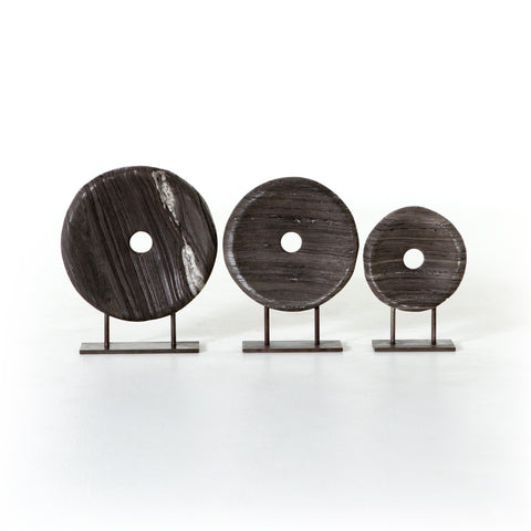 Collection of 3 Marble Disks on Stands