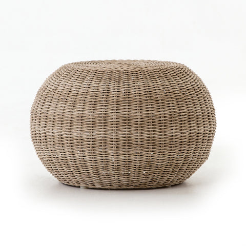 Outdoor woven wicker stool or ottoman