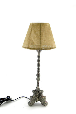 zinc based lamp with burlap shade, rustic style finish