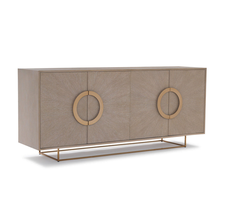 Cerused Oak and Brass Media Console Table
