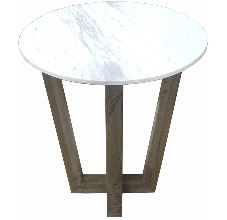Marble and Mango Wood End Table