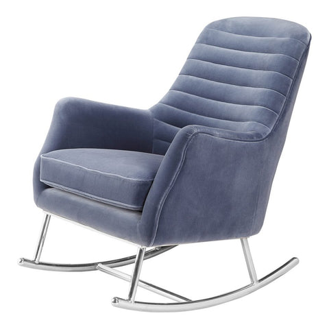 Blue Velvet Rocking Chair on stainless steel base