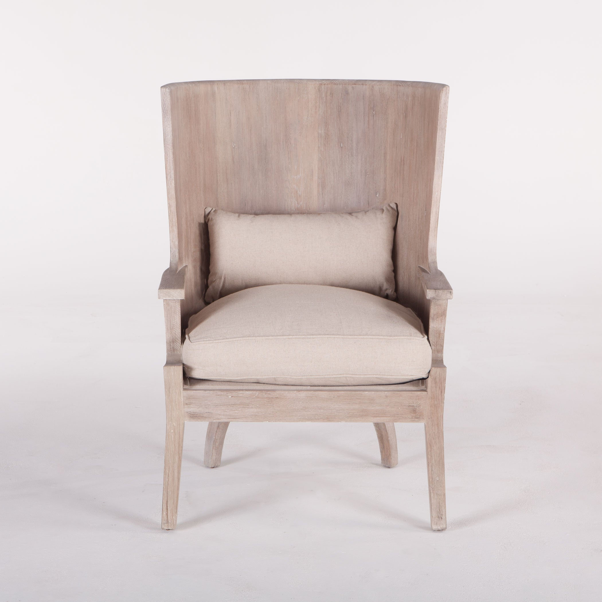 Round Back Wood Armchair