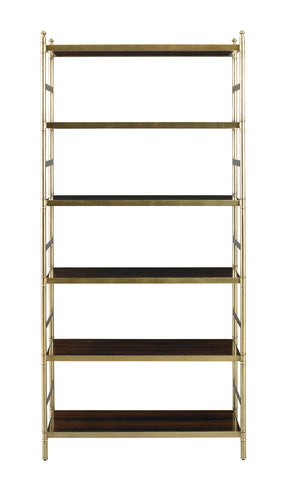 Antiqued Brass and Rosewood Etagere