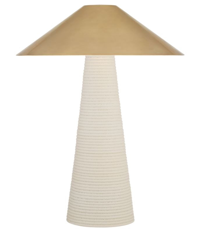 Miramar Accent Lamp in Porous White with Antique-Burnished Brass Shade
