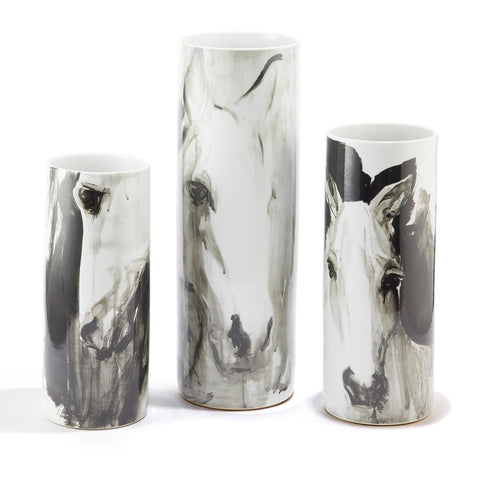 Horse Vases in 3 sizes in Black and white watercolor paint...ceramic, waterproof