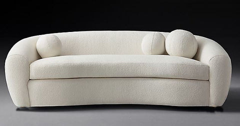 Minimalist Sofa in Italian Boucle Fabric