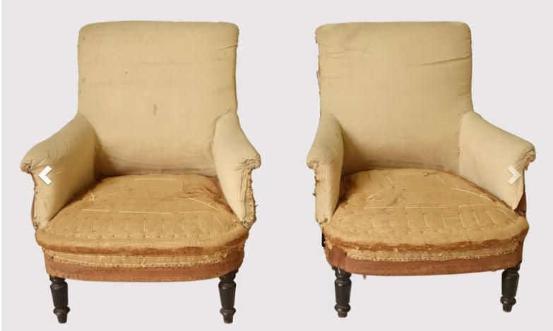 Pair French 19th C Armchairs English Country Home