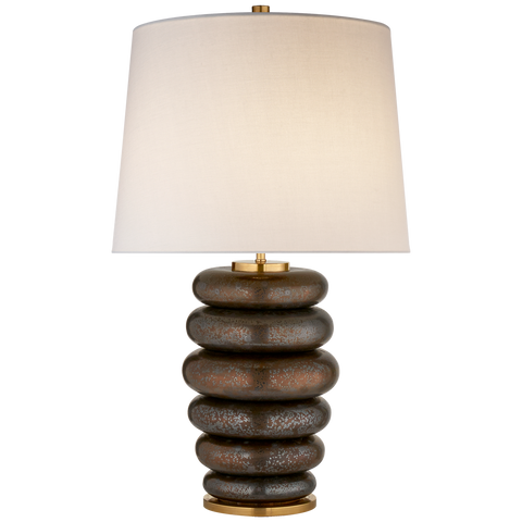 Phoebe Stacked Table Lamp with Linen Shade