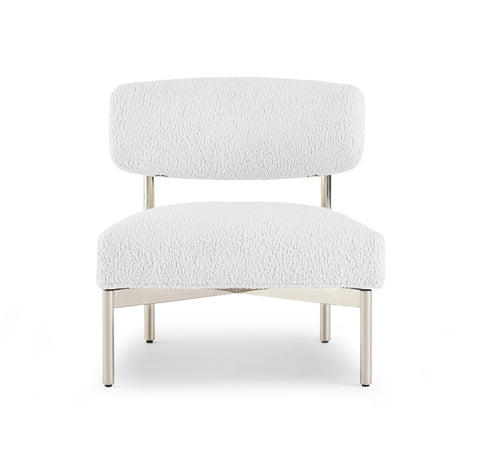 Armless chair in white Sherpa, option available