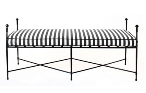 Outdoor Dining Bench in Stainless Steel/Black