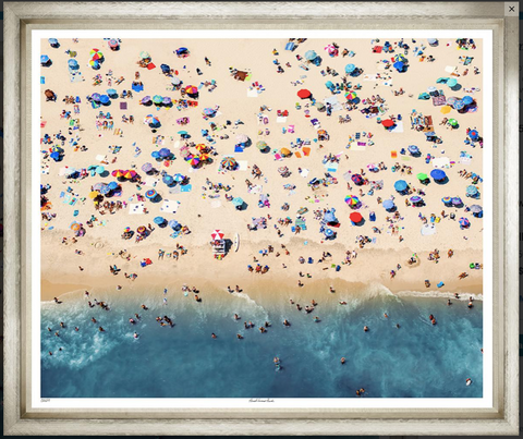 Busy Beach Scene, aerial summer photograph, available in other sizes and styles