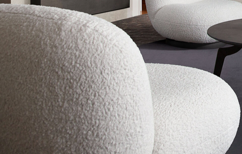 White Faux Sheepskin Sofa & Swivel Chairs