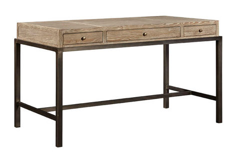 Solid Oak and Metal Desk