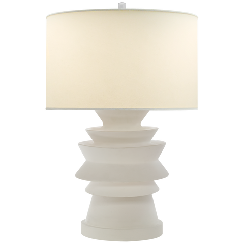 Stacked Disk Table Lamp with Natural Percale Shade