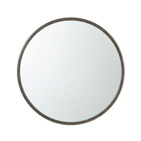 Leather Embossed Round Mirror