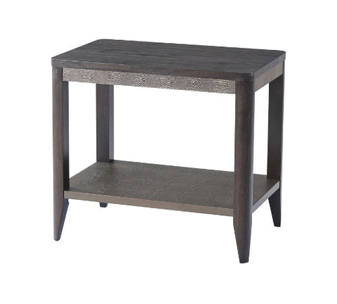 Wood Nightstand or Side Table with Leather Embossed Frieze - Hamptons Furniture, Gifts, Modern & Traditional