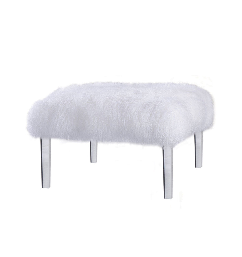 Mongolian Fur Ottoman on Acrylic Legs - Hamptons Furniture, Gifts, Modern & Traditional