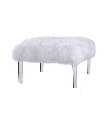 white Tibetan fur ottoman square, with acrylic legs